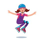 Cute smiling teen girl in jumpsuit wearing helmet and kneepads jumping and rolling on roller blades. Flat style character vector illustration isolated on white background.