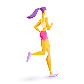 Girl of sports appearance is engaged in fitness Sports training Daily jogging in the fresh air Beautiful sports body Healthy lifestyle Isolated character on a white background Vector illustration