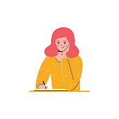 Girl is writing, education, learning vector illustration