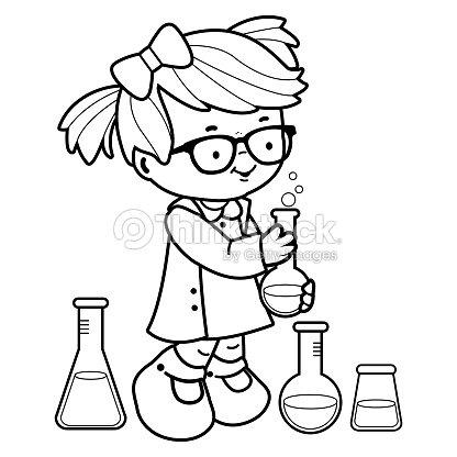 Chica Haciendo Experimentos De Ciencia Blanco Y Negro Para Colorear ...