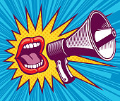 Girl mouth with megaphone. Vector illustration in pop art style. Mouth and megaphone speech, female screaming announce illustration