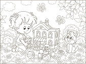 Cute little girl playing with a small doll, a bear, a rabbit and a toy house among flowers on a sunny summer day, black and white vector illustration in a cartoon style
