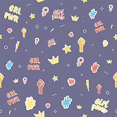 Girl power stickers seamless pattern card. Background with simple items. Vector illustration.