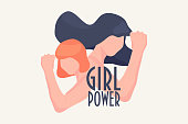 Girl power vector illustration concept. Feminist motivational slogan with female characters with fist and hand. Good as poster or card for girl power movement.