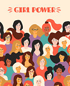 Girl power. Vector template with for card, poster, flyer and other users