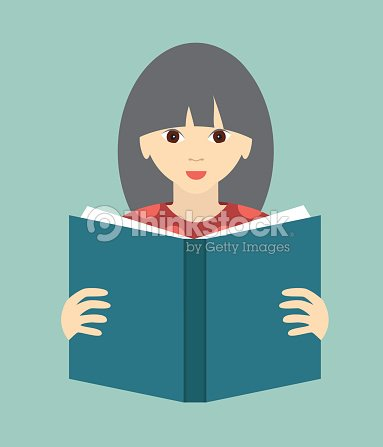 Girl Reading A Book Flat Vector Vector Art | Thinkstock