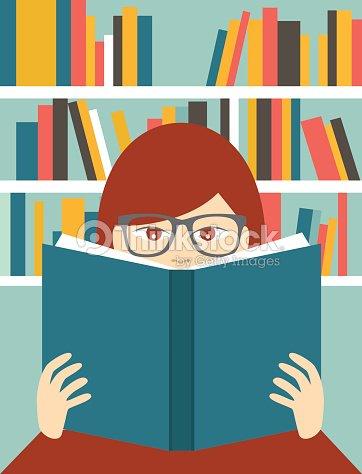 Fille Lisant Un Livre Dans Une Bibliotheque Vecteur Plat