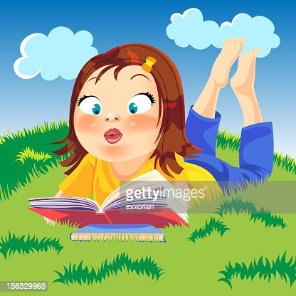 Girl Reading On The Grass Vector Art | Getty Images