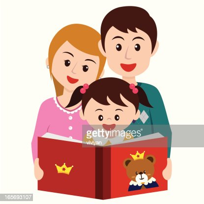 Girl Reading Story Book With Parents Vector Art | Getty Images