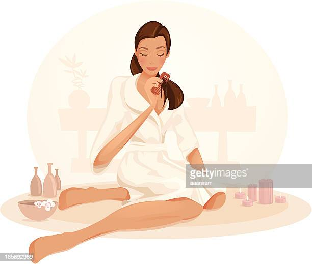 Girl Relaxing In A Spa