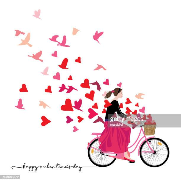 Ragazza in bicicletta di equitazione Invia amore libertà freschezza
