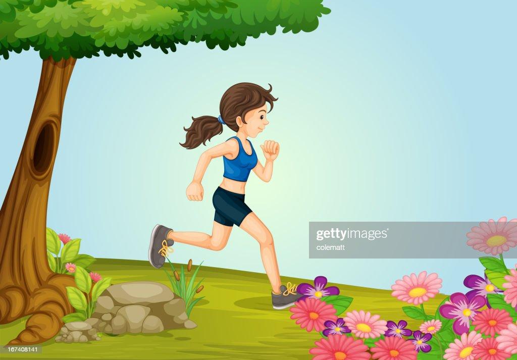 Mädchen läuft : Vektorgrafik