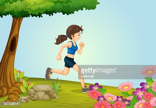 Girl running : Vector Art