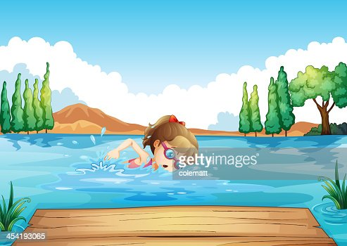 Girl swimming at the sea : Vector Art