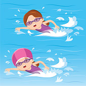 Vector illustration of girls swimming in the pool.