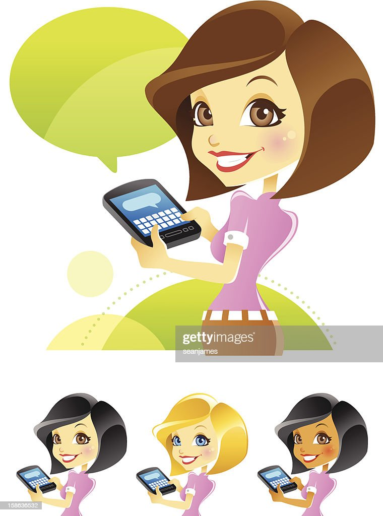 Girl Texting, Blogging, Typing on Smartphone : Vector Art