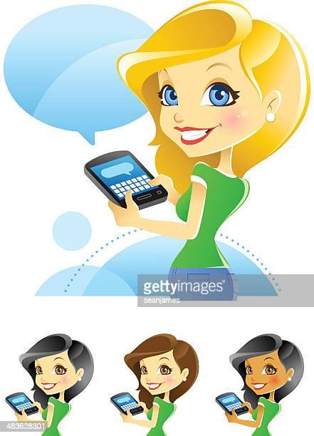 Mädchen, das Versenden von SMS, Bloggen, Tippen auf Smartphones