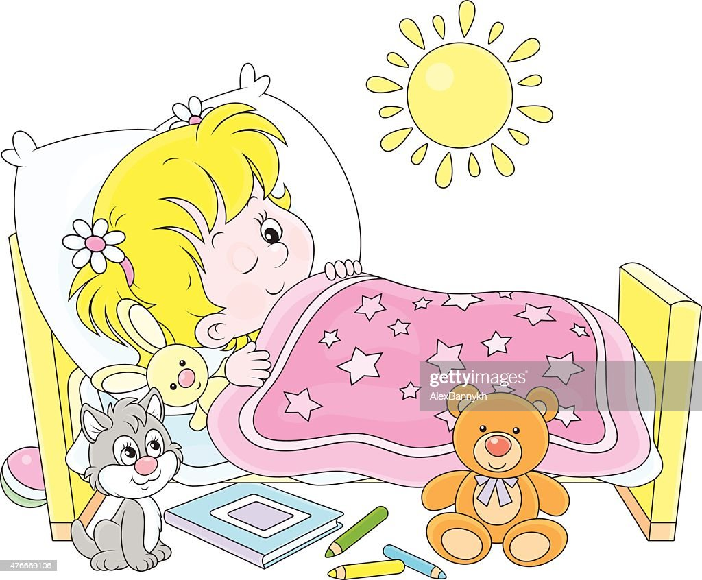 girl waking up vector art thinkstock rh thinkstockphotos com Little Girl Waking Up Clip Art Help Me Clip Art