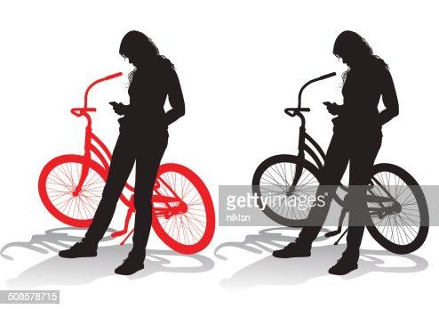 Girl with a bicycle : Vektorgrafik