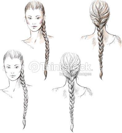 Girl With A Braid Vector EPS 10 Art