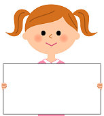 Girl's illustration with a white board.