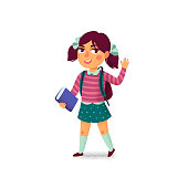 Waving girl with book and backpack on white background. Happy student. Elementary school pupil. Cheerful young lady. Back to school. Vector illustration in flat cartoon style with grain texture