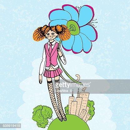 Girl with flower illustration : Vector Art