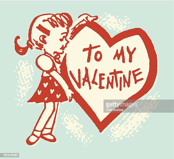 Girl with Giant Heart Valentine