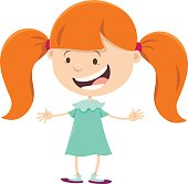 Cartoon Illustration of Cute Girl with Pigtails
