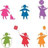 set of icons - children playing (girls).