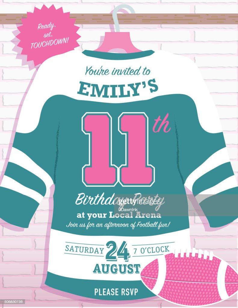 Girls Birthday Party Hockey Jersey Themed Invitation Design Vector – Hockey Birthday Party Invitations