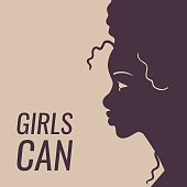 girls can poster with black woman profile
