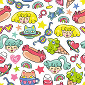 Girls, cat, hotdog, ice cream, stars. Doodle Seamless vector pattern (background).