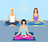 a group of girls doing yoga in the studio. women in lotus position. Meditating girl illustration. Yoga woman, meditation, anti-stress people.