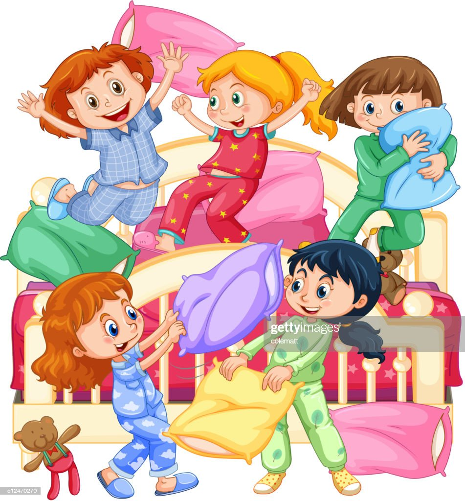 girls playing pillow fight at slumber party vector art thinkstock rh thinkstockphotos com slumber party clip art free sleepover party clipart