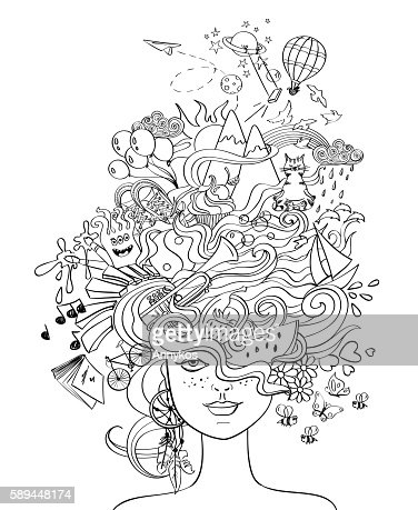 Girl's Portrait With Crazy Hair - Lifestyle Concept. : Clipart vectoriel