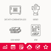 Give money, cash money and ATM icons. Safe box linear sign. Edit document, Calendar and Graph chart signs. Star, Check and House web icons. Vector