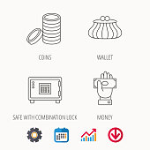 Give money, cash money and wallet icons. Safe box, coins linear signs. Calendar, Graph chart and Cogwheel signs. Download colored web icon. Vector