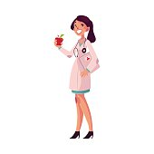 Glad, smiling female dietitian holding weigh scales and apple, cartoon vector illustration isolated on white background. Female dietician, nutrition, dieting expert, health care professional