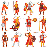 Gladiator vector roman warrior character in armor with sword or weapon and shield in ancient Rome illustration set of greek man warrio fighting in war isolated on white background.