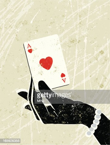 Glamorous Woman's Hand Holding an Ace of Hearts Playing Card : Vector Art