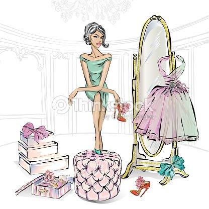 5ea5c6a6 Chica de moda glamour elige belleza zapatos de tacón alto en boutique o en  un clóset