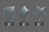 Glass Award template set isolated on transparent background. Vector blank glass trophy award.