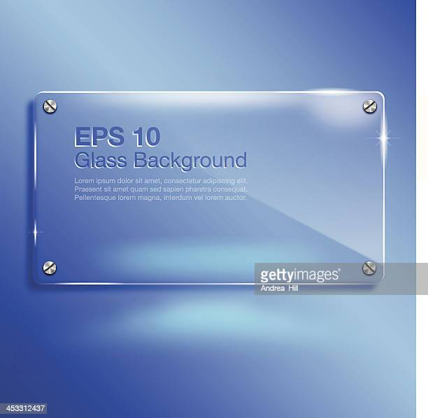 Glass Banner on Vibrant Blue Background with Copy Space