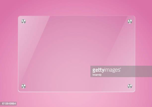 Glass board in pink backgorund