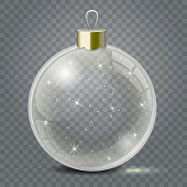 Glass Christmas toy on a transparent background. Stocking Christmas decorations or New Years. Transparent vector object for design, mock-up