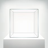 Glass showcase, vector. Empty square realistic glass box on podium on white background. Showcase transparent cube form for presentation. 3d style.