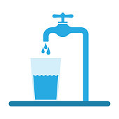 tap water flows into the glass. Pure water. Vector illustration