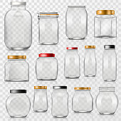 Glass jar vector empty mason glassware with lid or cover for canning and preserving illustration glassful set of container or cuppingglass isolated on transparent background.