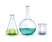 Vector transparent glass chemical flasks full off green, blue liquid and empty beaker isolated on background